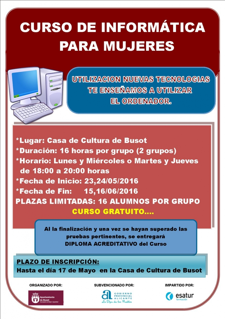 Cartel curso de informatica para mujeres en busot
